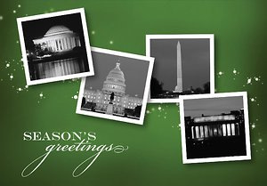 Washington DC Landmarks with Stars - Kelly Green