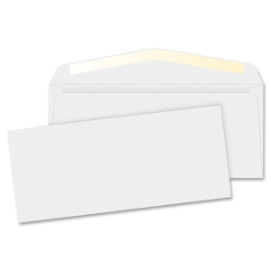 "White Wove Business Envelopes 4 1/8"" x 9 1/2"", #10, 24 lb. White Wove Commercial Envelope, Gummed, 500/BX"