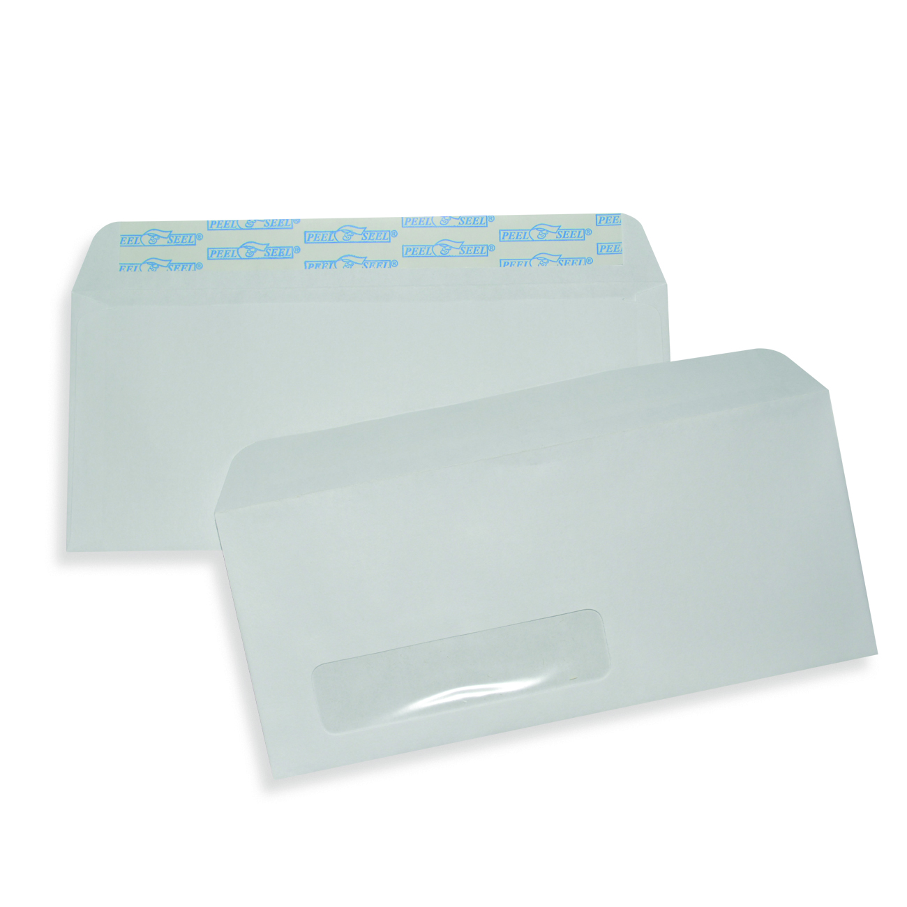 "White Wove Business Envelopes 4 1/8"" x 9 1/2"", #10, 24 lb. White Wove Commercial Envelope, Single Window, Pull & Close,5 00/BX"