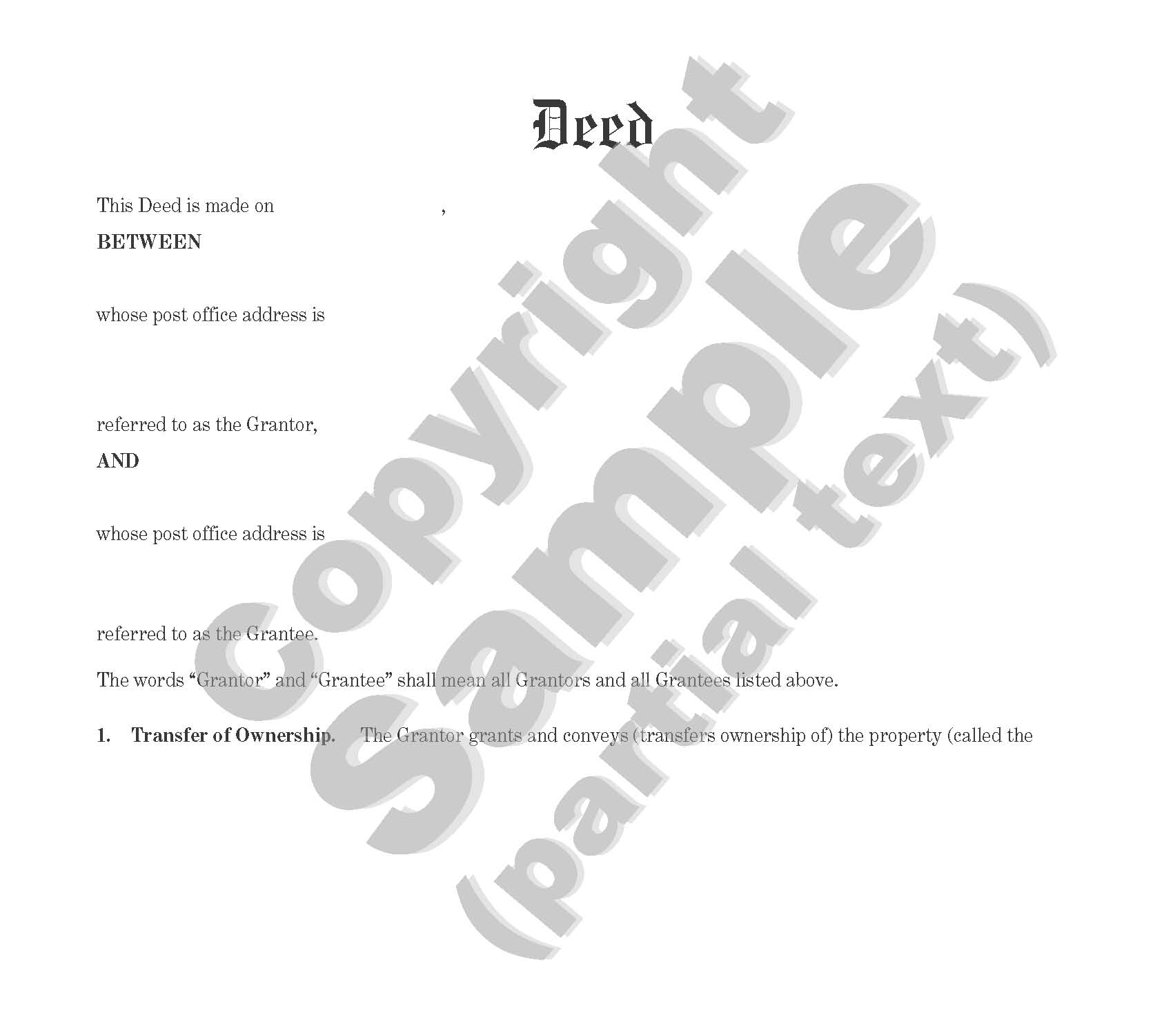 Deed - Bargain and Sale - Individual to Individual or Corporate - Plain Language