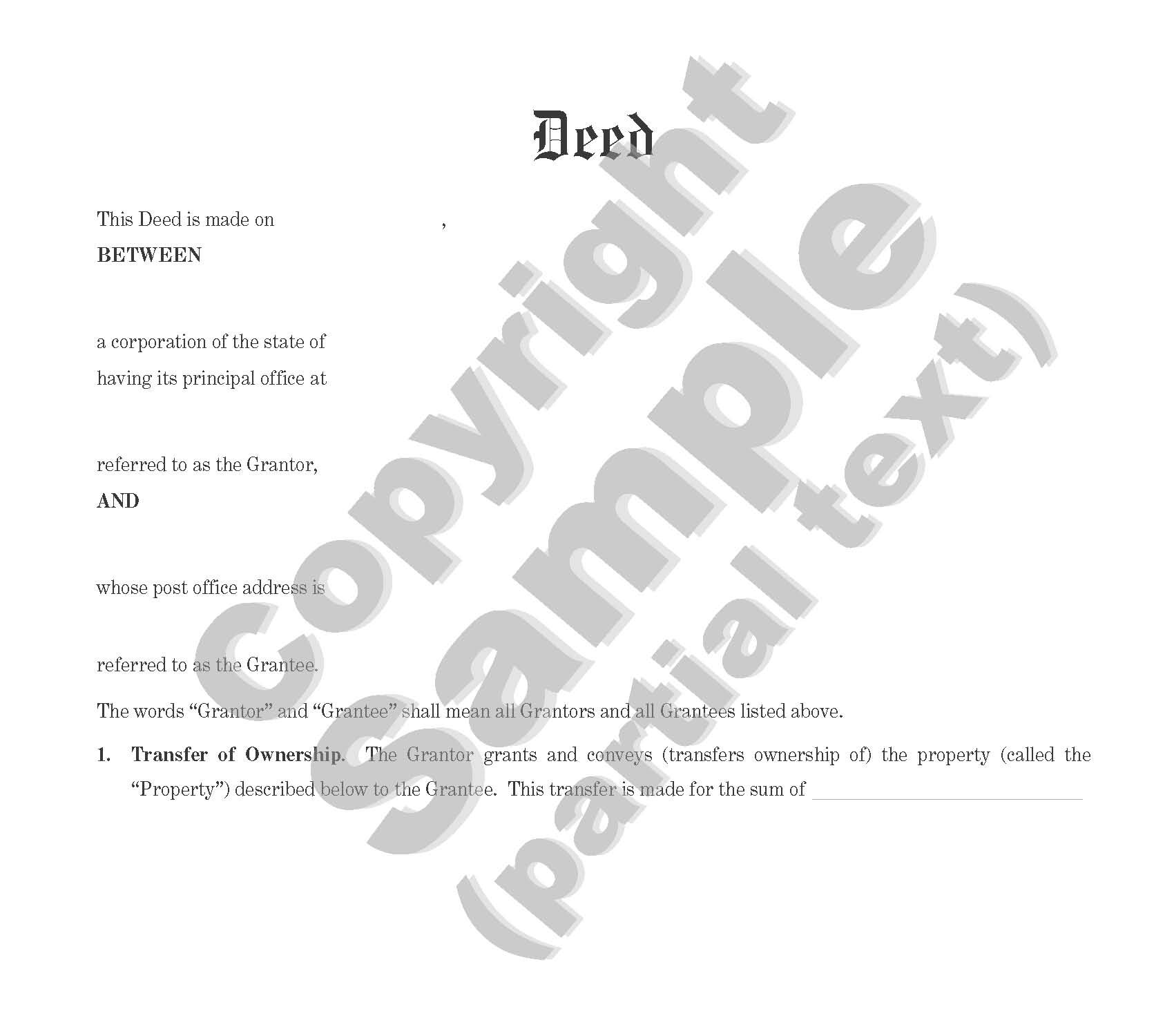 Deed - Bargain and Sale - Corporate to Individual or Corporate - Plain Language