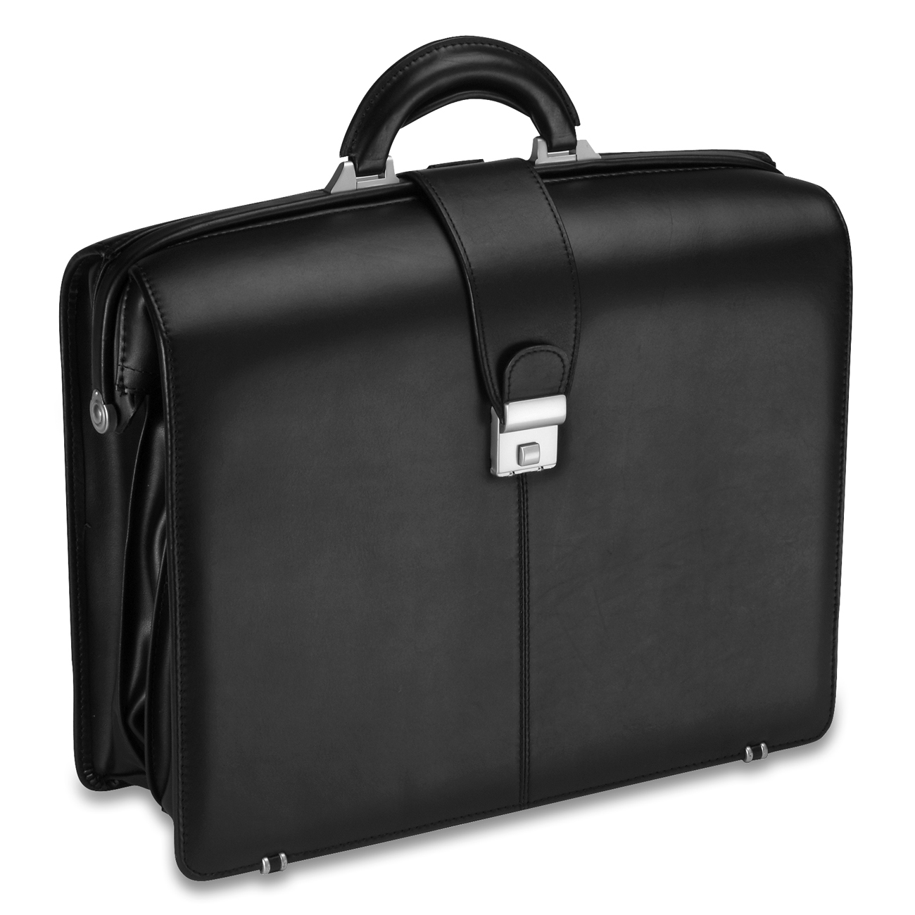 CLOSE OUT PRICE! ALL-STATE LEGAL Top Grain Black Briefcase Black Carrying Case, Genuine Leather, 1/PK