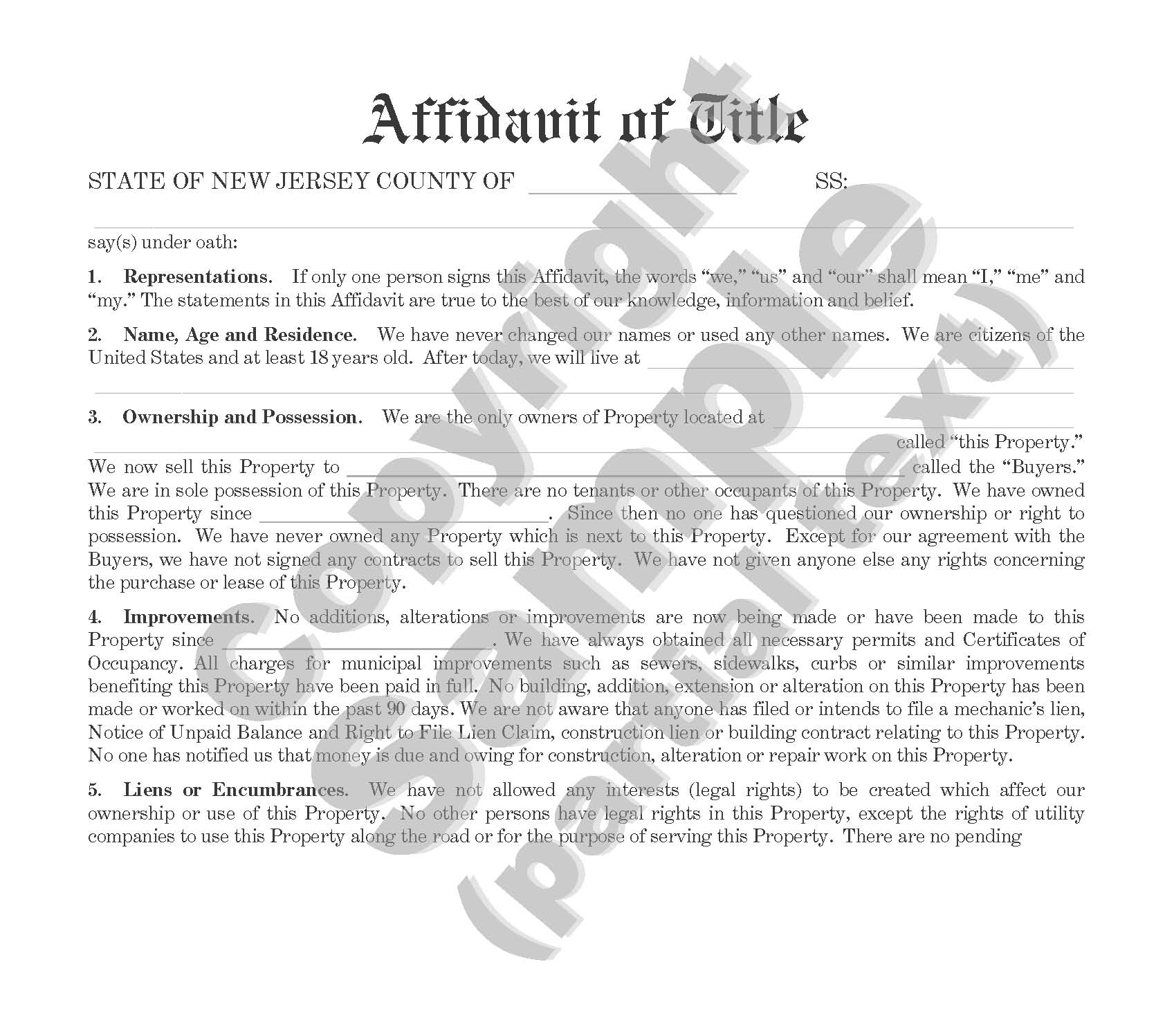 Affidavit of Title - For Sale of Property by Individual - Plain Language