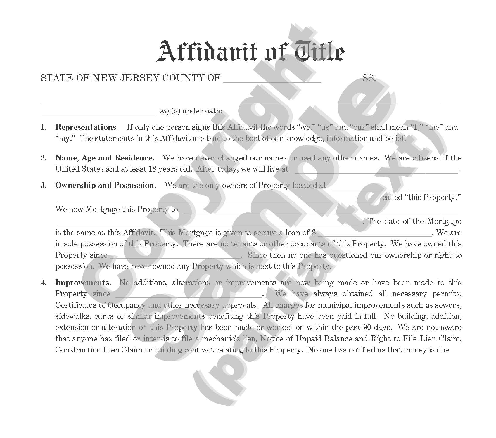 Affidavit of Title - For Mortgage of Property by Individual - Plain Language