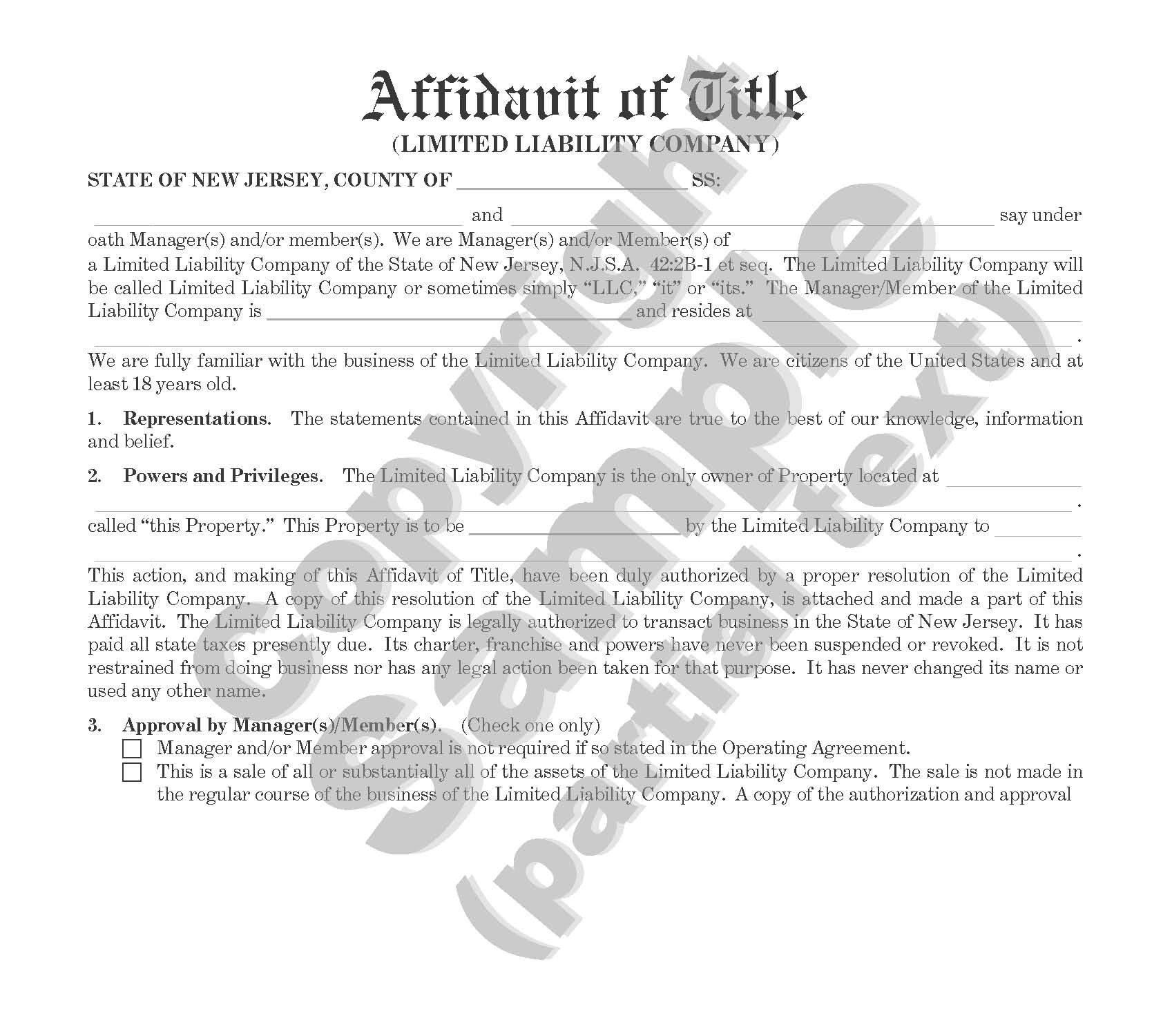 Affidavit of Title Limited Liability Corporation - For Sale or Mortgage of Property - Plain Language