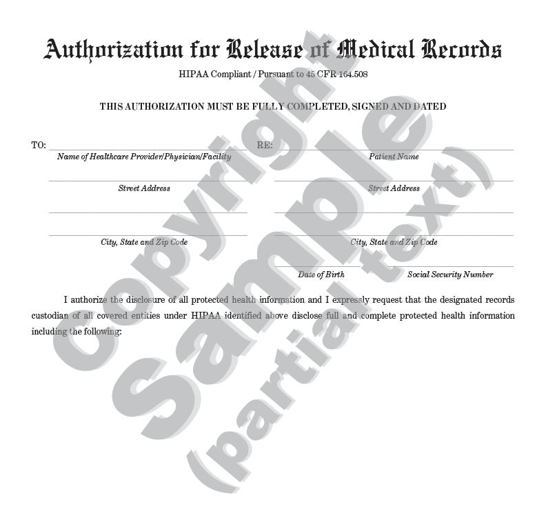 Authorization for Release of Medical Records HIPAA Compliant