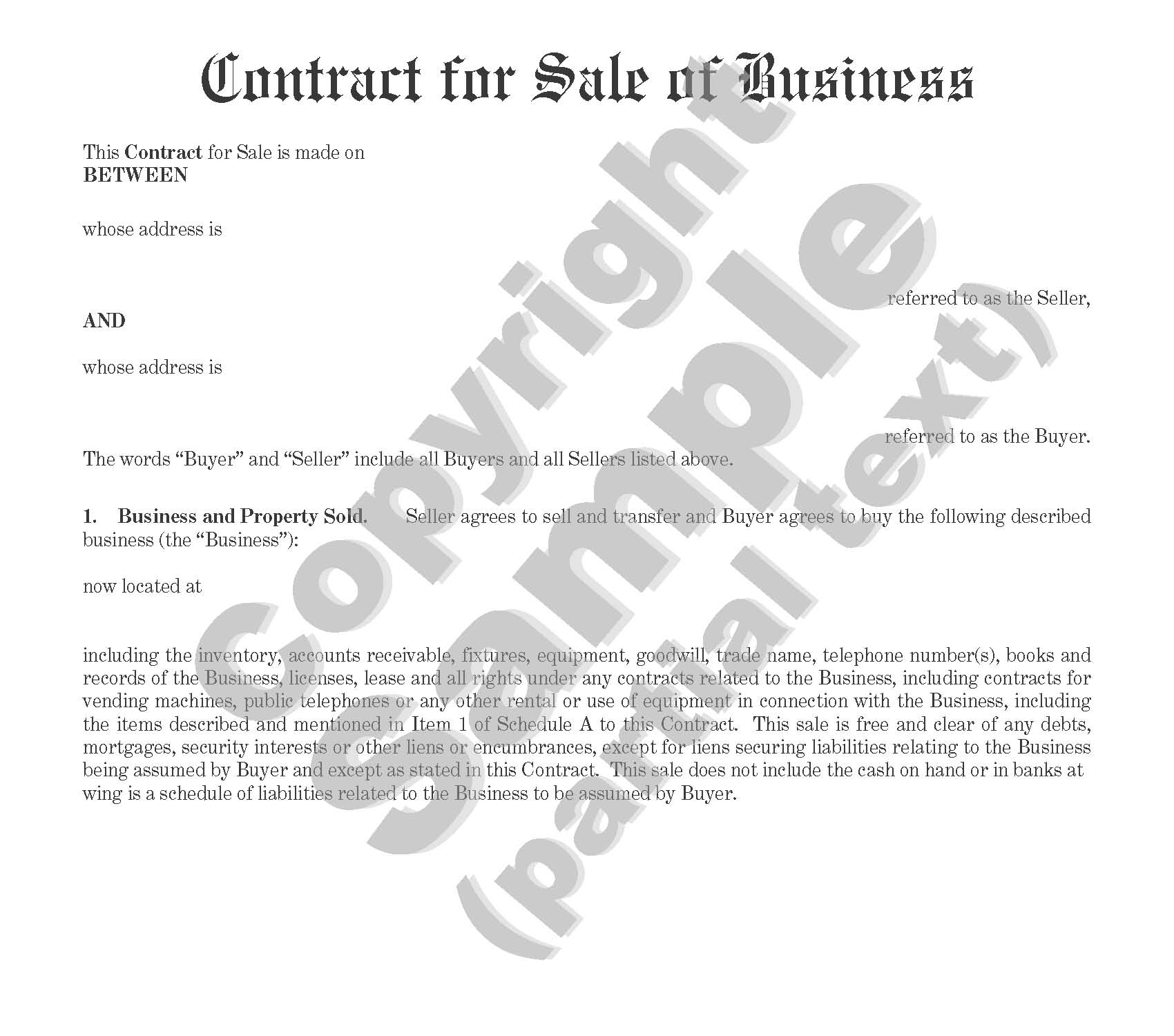 Contract for Sale of Business - Individual or Corporate