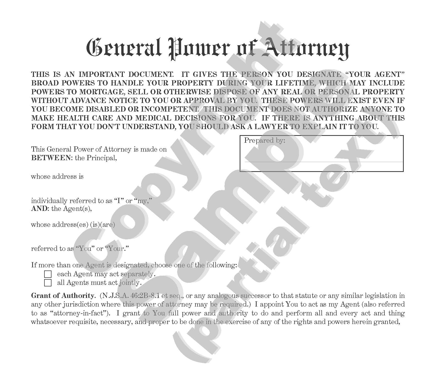 General Power of Attorney - New Jersey