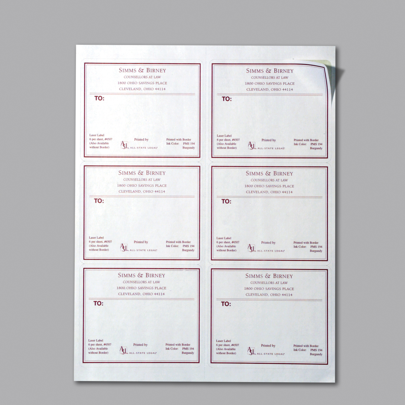 "White Laser Mailing Labels 3 1/3"" x 4"", White, Laser/Inkjet Labels, 6 Labels/Sheet, 6 Labels/Sheet, 600 Labels/BX"