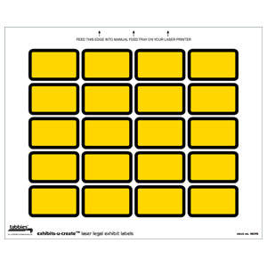 Exhibit Labels Yellow Laser Exhibit Labels, Tabbies, Exhibits-U-Create, 240/PK