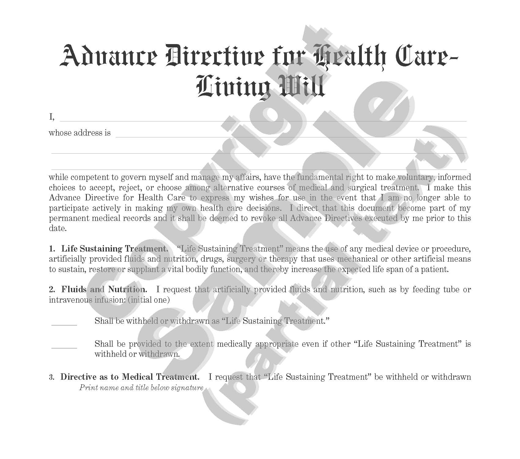 Advance Directive for Health Care - Living Will