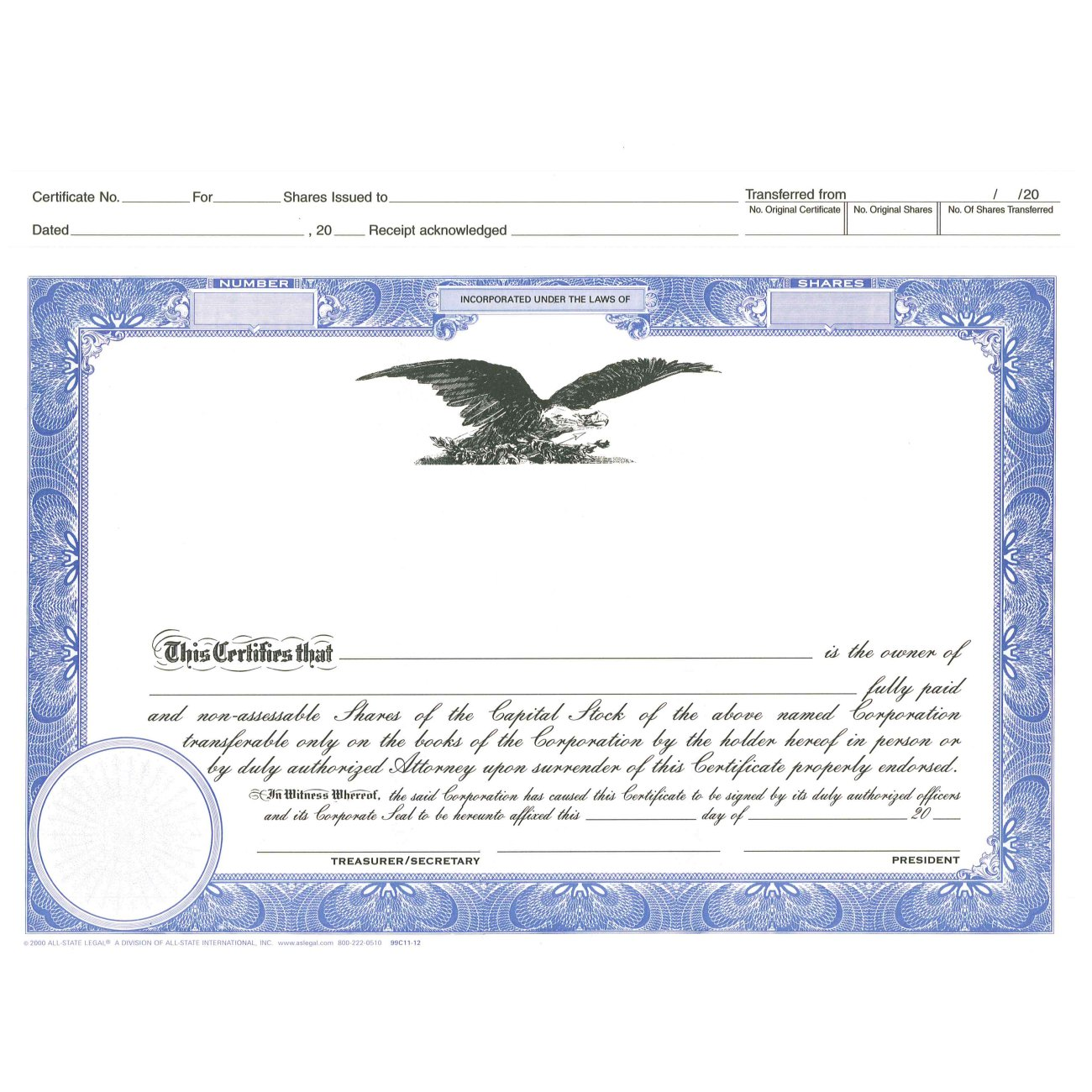 Blank Top Stub Certificates, For Profit