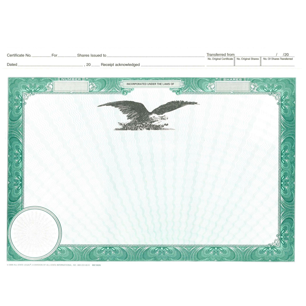 Blank Top Stub Certificates, Eagle Only
