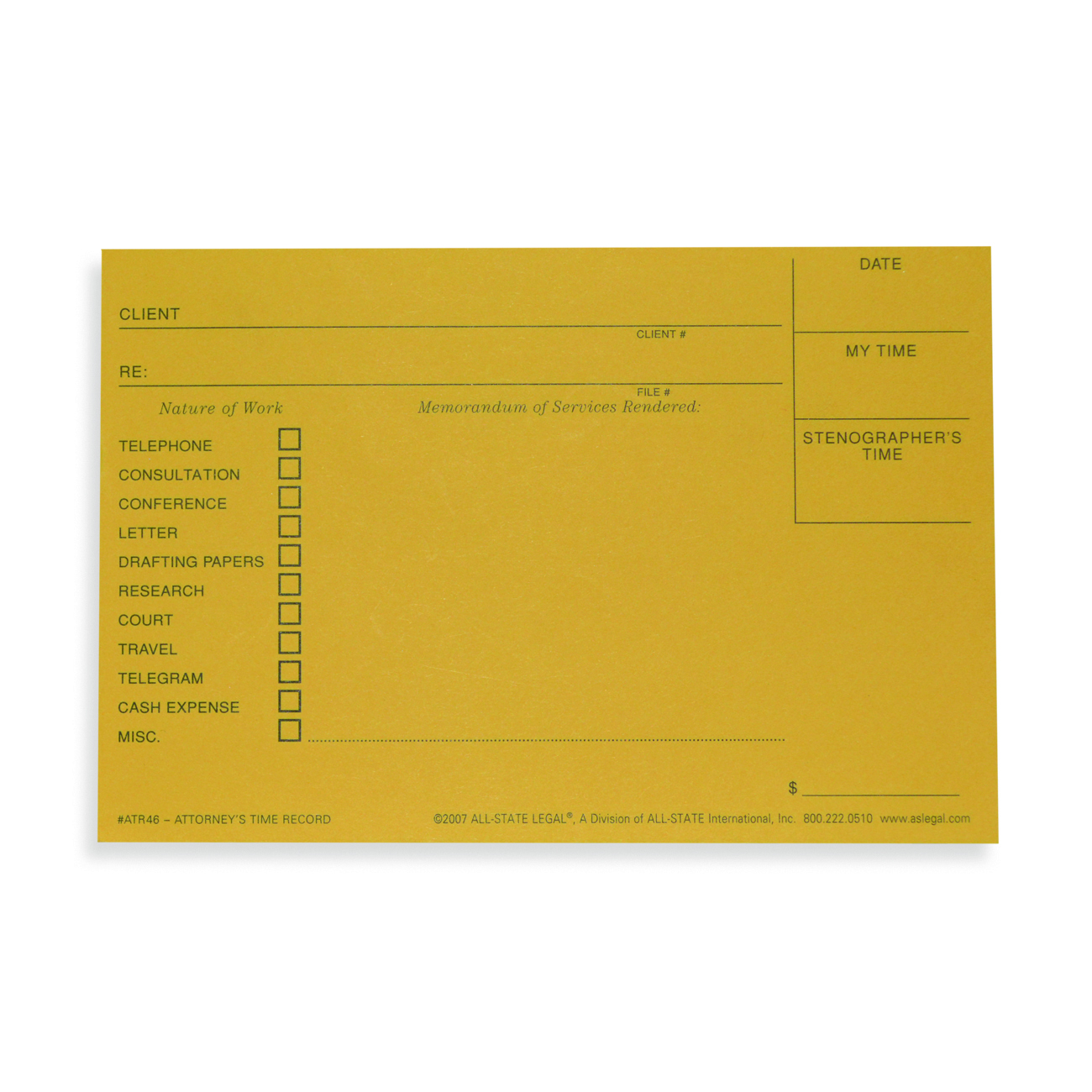 Attorney's Time Record Forms
