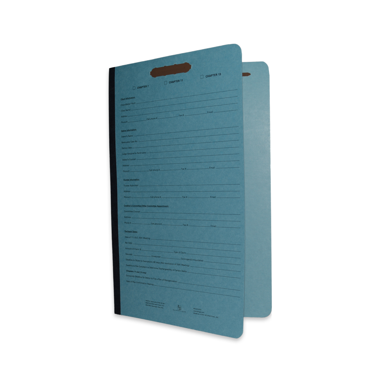 Bankruptcy Folder with Tabs Preprinted Cover - Legal Size, Blue Bankruptcy Folder, 20 Bottom Tabs, 10/BX