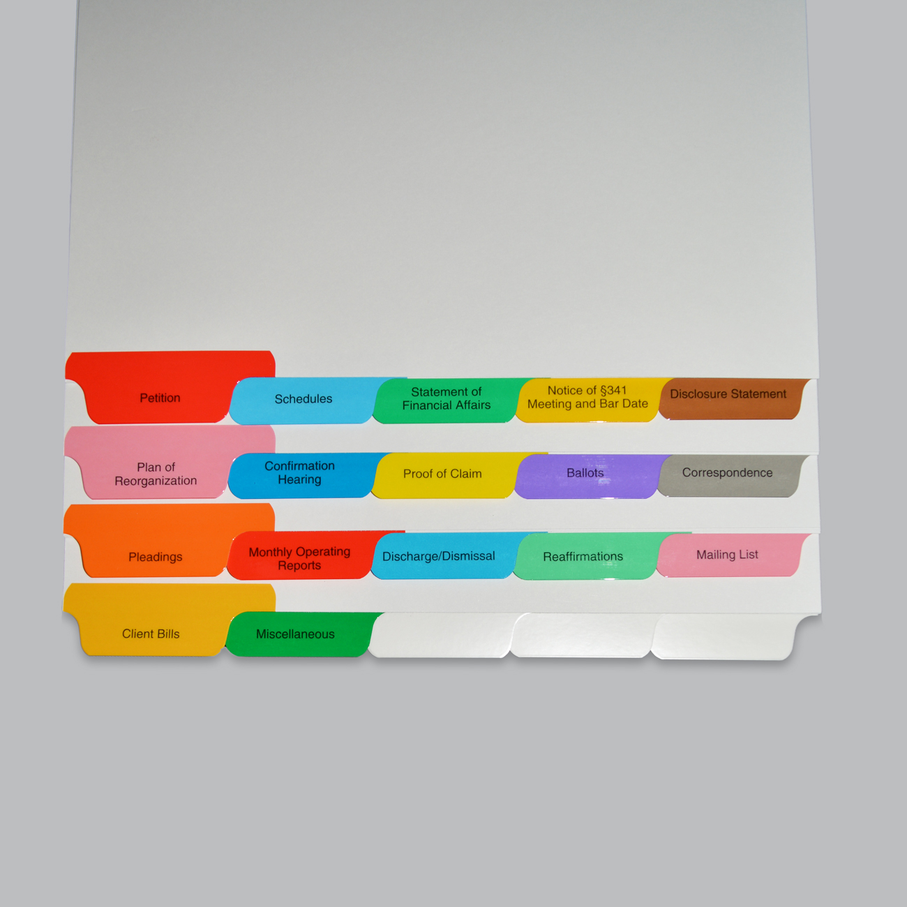 Bankruptcy Tab Set 20 Preprinted Tabs - Legal Size, Bottom Tab, Mylar Reinforced, Assorted Colors, 10 Sets/BX