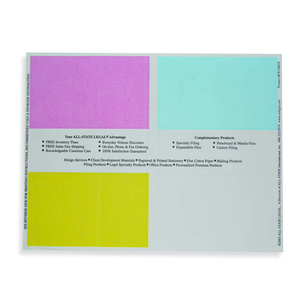 "Case Index Cards Case Index Cards - 4 3""x 5"" Perforated Cards (White, Yellow, Blue and Pink), 100 Sheets/PK"
