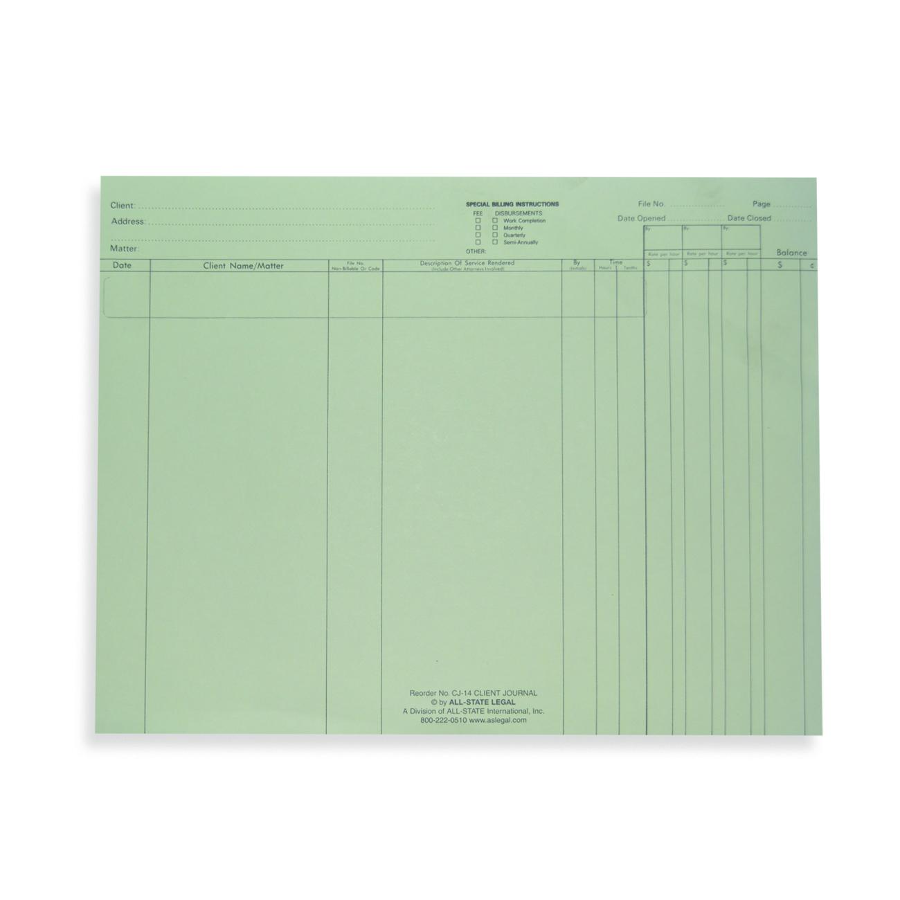 Client Journal Sheets