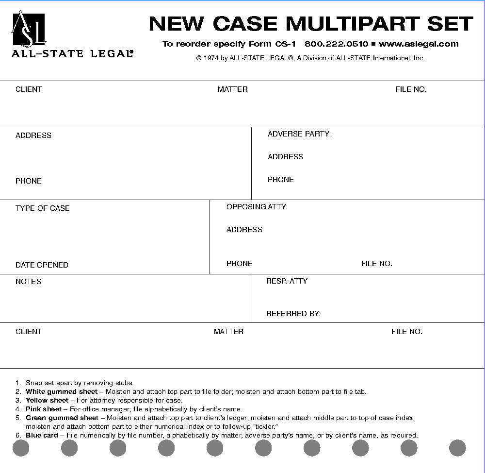 "New Case Multi Part Forms New Case Multipart Forms, 5 Part, 3"" x 5"", 100/PK"