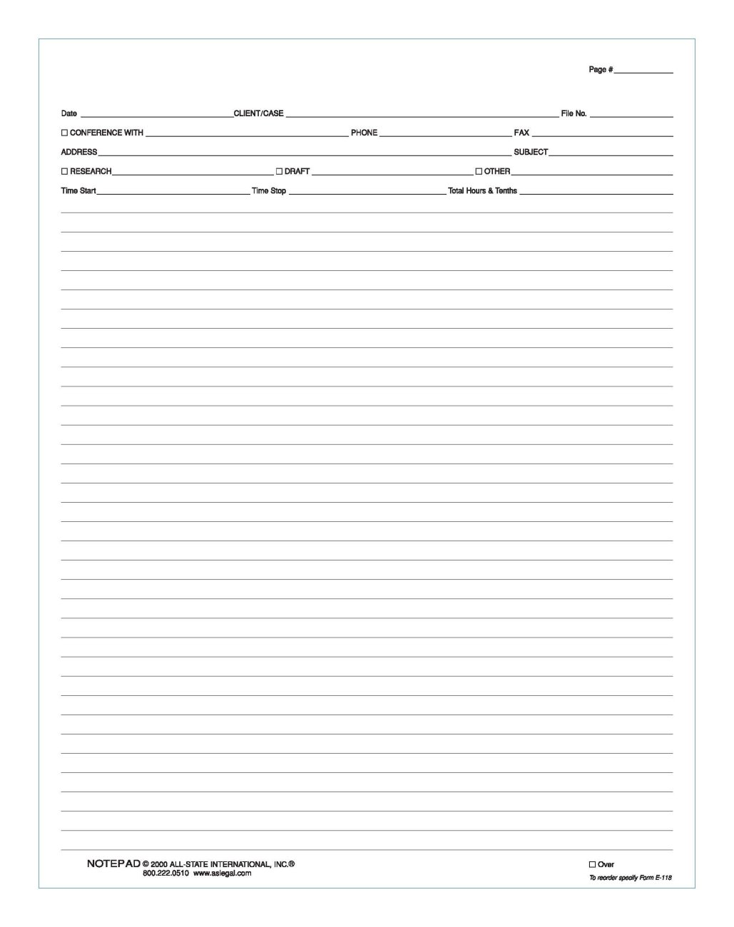 "Conference Note Pad 8 1/2"" x 11"", Conference Note Pad, 20 lb., White Form with Green Ink, 2 Hole Punched, 50 Sheets/Pad"