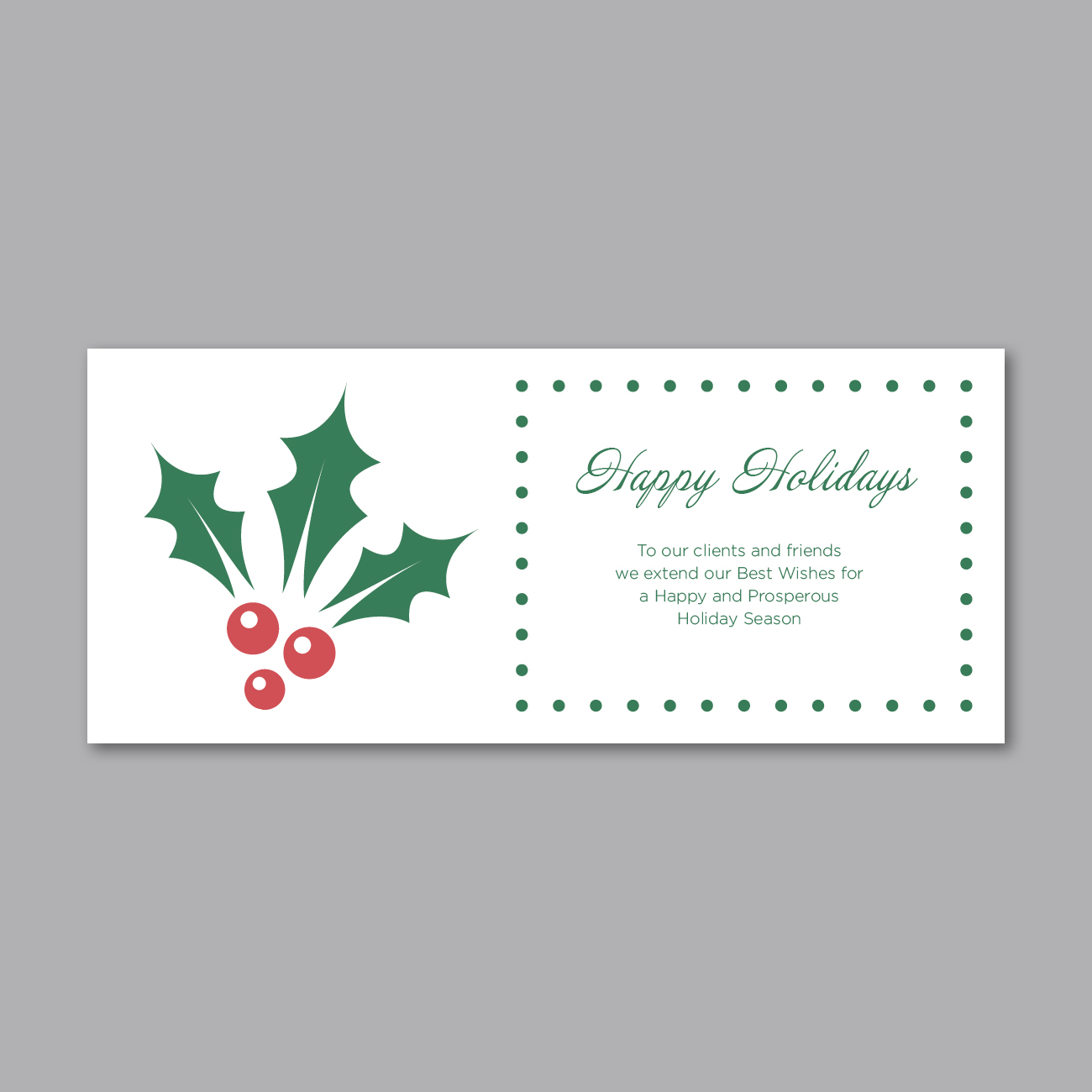 Holiday Greeting Insert - Holly Wishes