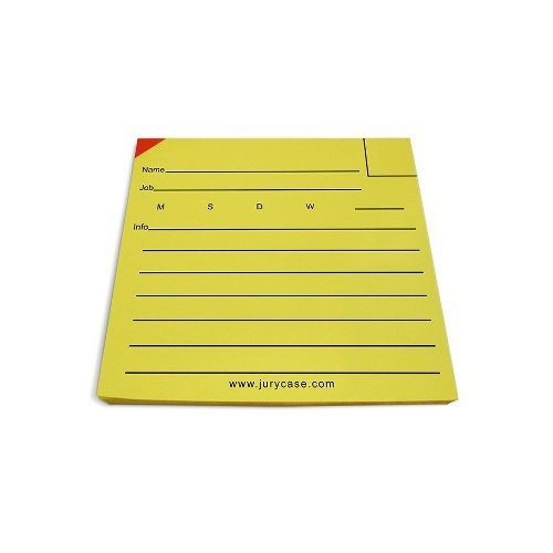 "Jury Case Top Juror Tags Top Juror Tags - 3 1/4"" x 3 1/8"" Ruled Yellow Sticky Note Pad - 50/Pad, 6 Pads/PK"