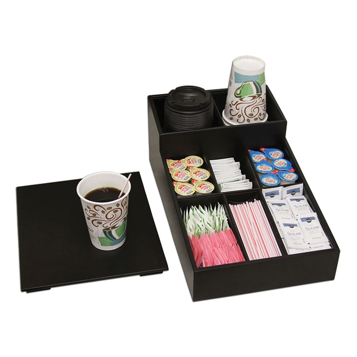 "Coffee & Condiment Organizer - Black 16"" L x 9 1/2"" W x 6"" H, Black Leatherette, Coffee & Condiment Organizer, 1/EA"
