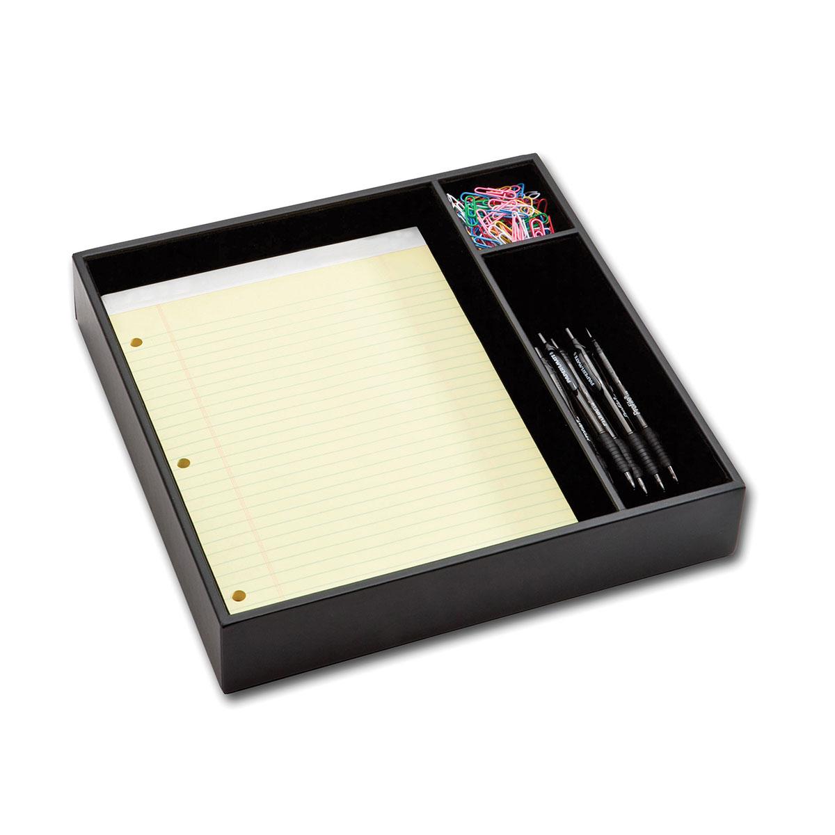 """Pad & Pen Organizer - Black 12 1/2"""" L x 12 7/16"""" W x 2 3/8"""" H, Black Leatherette, Felt Lined, Letter Size Pad & Pen Organizer, 1/EA"""
