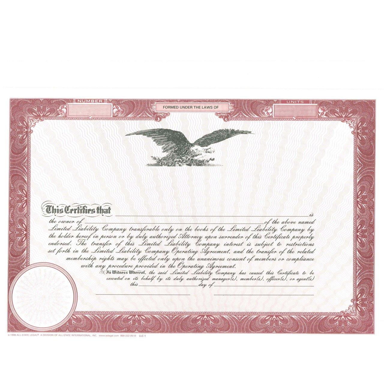 Blank Burgundy Membership Certificates