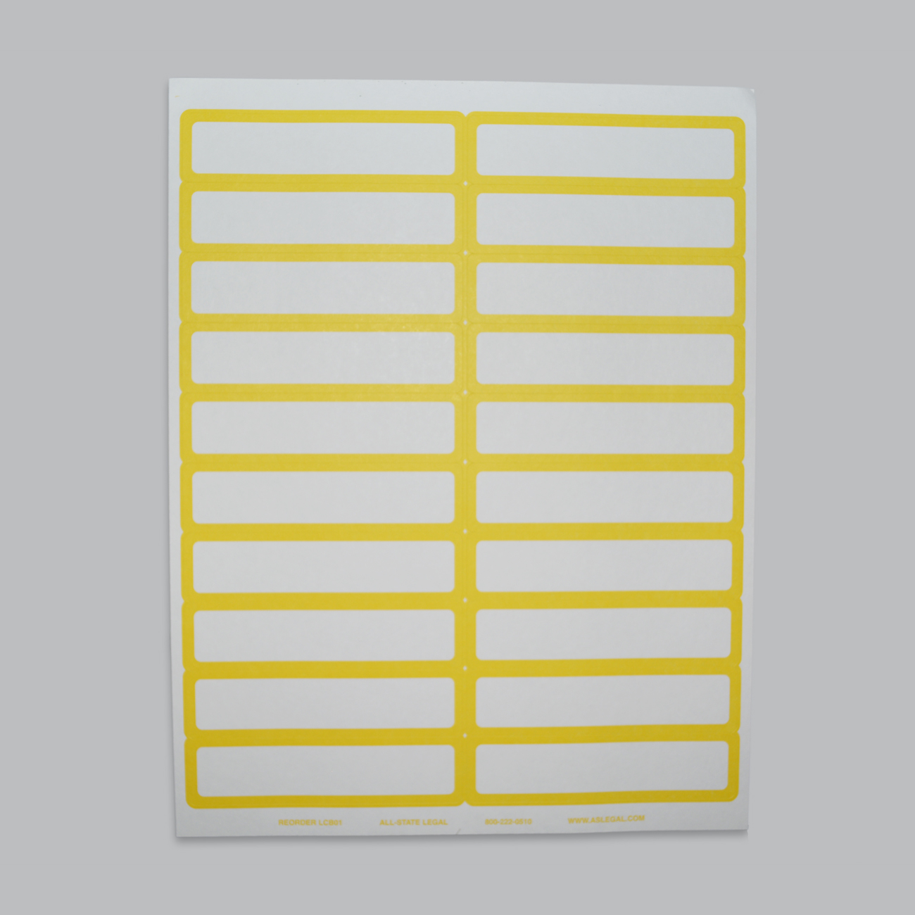 """File Folder Labels Label, 4"""" x 15/16"""", Yellow Self-Adhesive File Folder Laser Label, 20 Labels/Sheet, 500 Labels/PK (Matches Color-Bands)"""