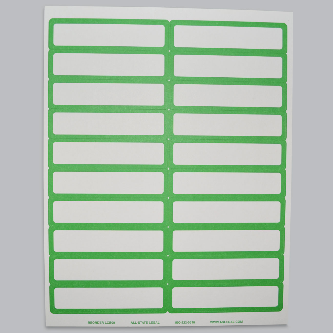 "File Folder Labels Label, 4"" x 15/16"", Green Self-Adhesive File Folder Laser Label, 20 Labels/Sheet, 500 Labels/PK (Matches Color-Bands)"