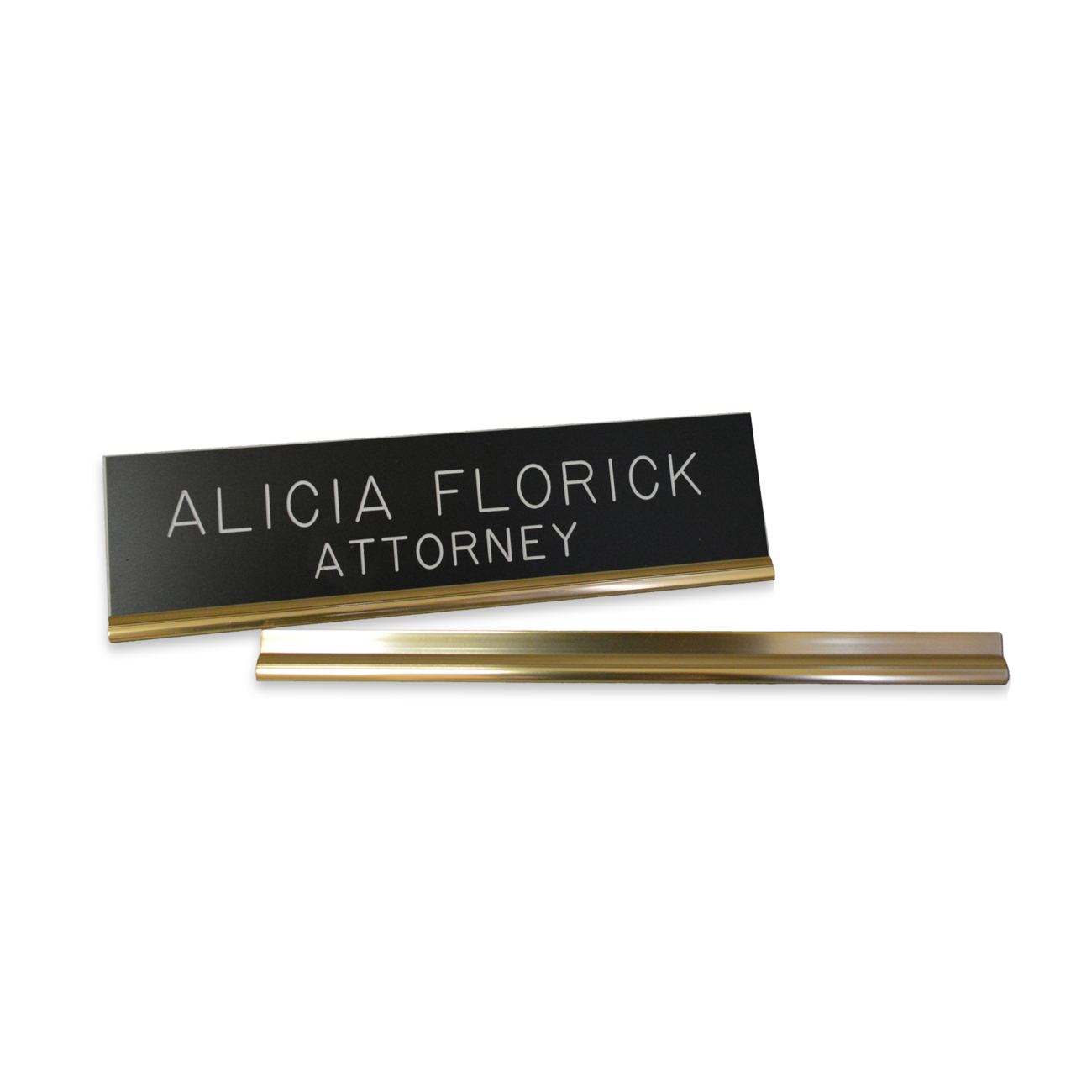 "Name Plate Base 10"" Metal Base Short Back Desk, Gold, 1/PK"