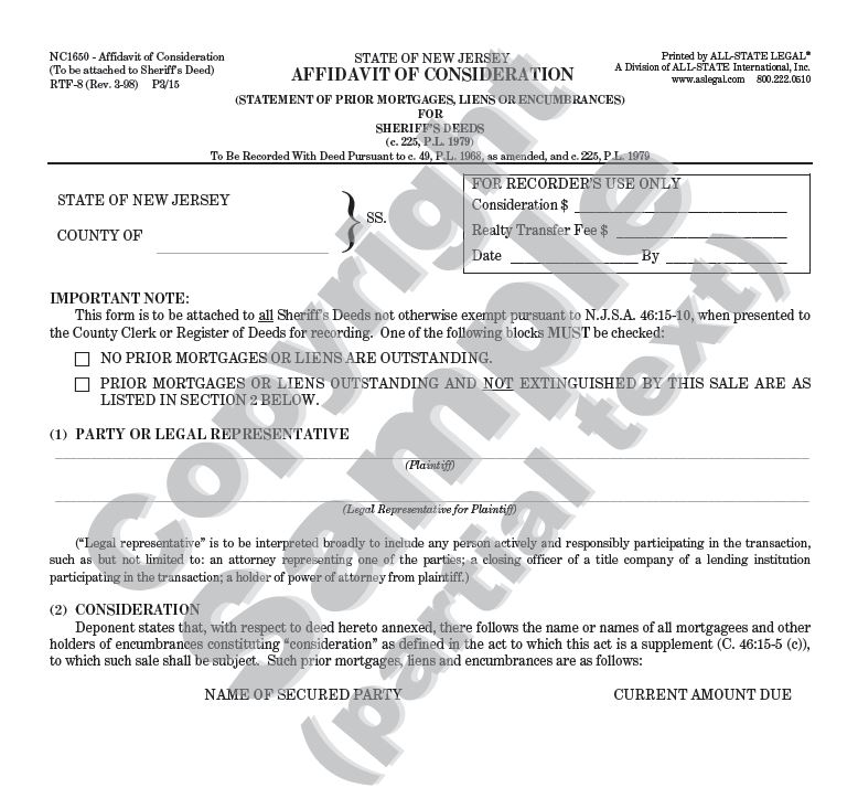 Affidavit of Consideration (To Be Attached to Sheriff's Deeds)