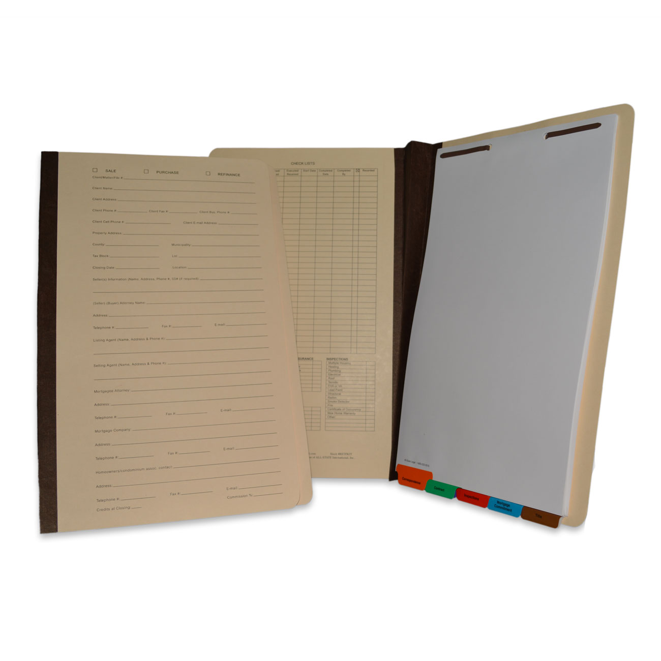 "Real Estate Transaction File Real Estate Transaction File Folder with Tabs, 2"" Expansion, Recycled, 10% PCW, 10/Box"